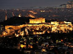 View of the Parthenon on the Acropolis, in Athens by night