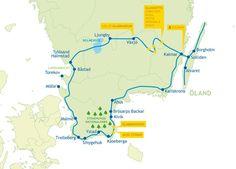 Karte der Rundreise durch Südschweden Map of the round trip through southern Sweden Lofoten, Bus Travel, Travel Tips, Oahu, Sweeden Travel, Sweden Map, Camping Holiday, Venice Travel, Excursion