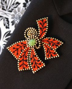 Abstract felt and zipper  brooch by woollyfabulous on Etsy, $40.00