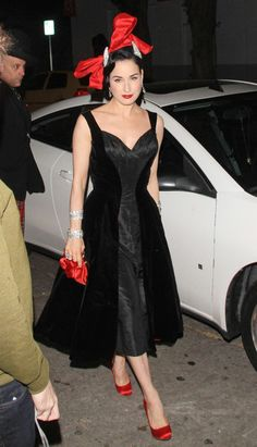 Dita Von Teese arrives at the Siren Studios in Hollywood to attend Perez Hiltons birthday celebrations,  March 2012.