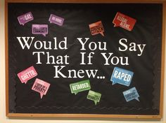 Would you say that if you knew... Social justice bulletin board.