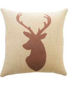 JGArtStore Deer Burlap Throw Pillow; Red Fashion Home Decorative Pillowcase Cotton Linen Pillow Cover 18 X 18 Inch