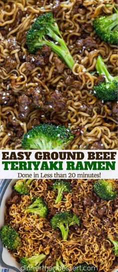 Ground Beef Teriyaki Ramen with a five ingredient teriyaki sauce, ramen and broccoli in less than 20 minutes! Ground Beef Teriyaki Ramen - Ground Beef Teriyaki Ramen with a five ingredient teriyaki sauce, ramen and broccoli in less than 20 minutes! Healthy Ground Beef, Ground Beef Recipes For Dinner, Dinner With Ground Beef, Dinner Recipes, Recipies With Ground Beef, Health Ground Beef Recipes, Ground Beef Meals Healthy, Ground Beef Recipes Skillet, Ground Beef Crockpot Recipes
