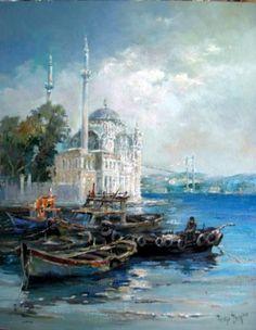 Ressam Remzi İren - Ortaköy'de tekneler