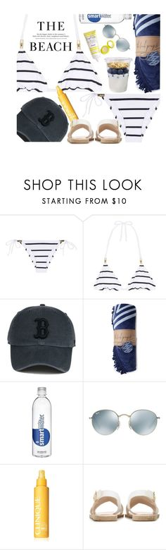"""""""Beach Days Are Coming..."""" by hollowpoint-smile ❤ liked on Polyvore featuring Heidi Klein, Ray-Ban, Clinique, Ancient Greek Sandals, Supergoop! and H&M"""