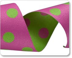 Pink and Green Polka Dots Ribbon