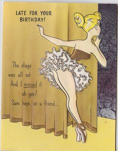 Vintage Belated Ballerina Birthday Card by OldCards on Etsy, $6.00