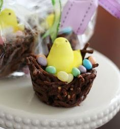 Chocolate Easter Nest  NO-BAKE CHOCOLATE EASTER NEST  Ingredients: 1 (12 oz) bag milk chocolate chips 1 (12 oz) bag butterscotch chips, more chocolate chips, or peanut butter chips 12 oz. Pretzel Sticks (broken up) Cadbury mini eggs, or Jelly Beans. Peeps if making larger nests in muffin pan.