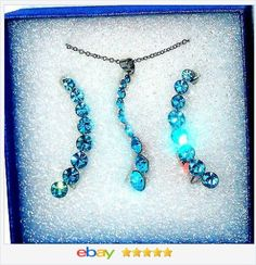 50% OFF #ebay http://stores.ebay.com/JEWELRY-AND-GIFTS-BY-ALICE-AND-ANN Blue Crystal Journey Pendant and Climber Earrings USA Seller