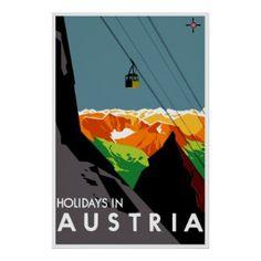 Vacances dans le voyage autrichien vintage de ~ de posters