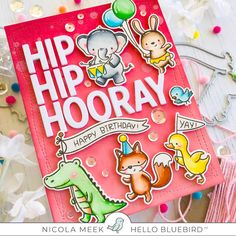 Nicky Noo Cards: Party Parade with Charlie Alpha Die - Hello Bluebird Kids Birthday Cards, Handmade Birthday Cards, Greeting Cards Handmade, Card Making Inspiration, Making Ideas, Paper Crafts Magazine, Masculine Birthday Cards, Scrapbook Cards, Scrapbooking