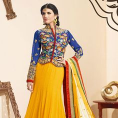 #Yellow Faux Georgette #LehengaCholi