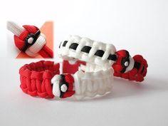 How to Make a Pokeball,Pokemon Themed Paracord Bracelet-Pokeknot by Crea. How to Make a Poke Paracord Tutorial, Paracord Knots, Paracord Bracelets, Bracelet Tutorial, Knot Bracelets, Survival Bracelets, Paracord Braids, Pokemon Craft, Pokemon Party