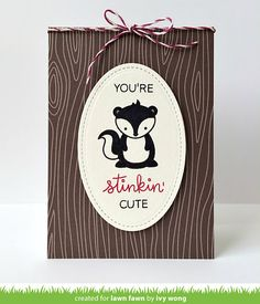 Have a stinkin' good time with this little skunk! The heart or flower fits perfectly into the skunk's hands [skunk] x Bridal Shower Scrapbook, Baby Scrapbook, Baby Skunks, Lawn Fawn Blog, Penny Black Stamps, Lawn Fawn Stamps, Card Making Supplies, Shaped Cards, Animal Cards