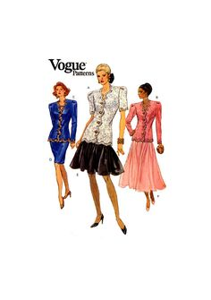 80s Vogue 8228 Mother of the Bride, Special Occasion, Formal Fitted Top and Flared or Straight Skirt, U/C, F/F, Sewing Pattern Size 12-16 Straight Skirt, Brides And Bridesmaids, Shoulder Pads, Mother Of The Bride, Special Occasion, Sewing Patterns, Size 12, Vogue, Knitting