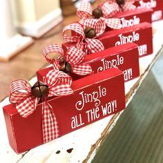 Jingle Bell Block – Wooden Christmas Sign – Jingle All the Way – Rustic Holiday Decor – Mante. Jingle Bell Block – Wooden Christmas Sign – Jingle All the Way – Rustic Holiday Decor – Mantel or Bookshelf Decor – Home Accent, Christmas Blocks, Christmas Wood Crafts, Christmas Signs, Homemade Christmas, Diy Christmas Gifts, Christmas Projects, Holiday Crafts, Christmas Holidays, Christmas Crafts To Make And Sell