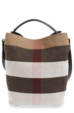Burberry  Medium Susanna - Mega Check  Jute   Cotton Bucket Bag  8c5dca732ed7b