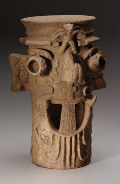 Tlaloc incensario, Colima, Mexico, Pottery, 100 BC - 150 AD