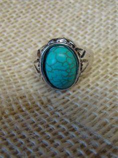 Size 8 silver turquoise ring.  Free shipping!
