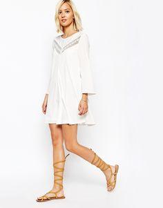 Image 4 ofVero Moda Lace Insert Smock Dress
