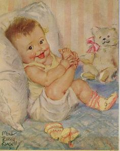 An adorable vintage lithograph by Maud Tausey Fangel, c 1940s-1950s of a little baby holding its foot with its tongue sticking out!!