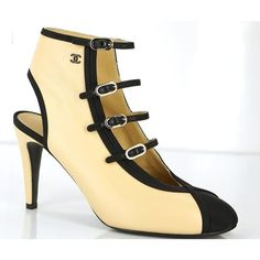 Nib Chanel Satin Toe Beige Leather Ankle Booties Sz 37.5 Heels Buckles... ❤ liked on Polyvore featuring shoes, boots, ankle booties, real leather shoes, leather buckle shoes, buckle shoes, leather footwear and genuine leather shoes