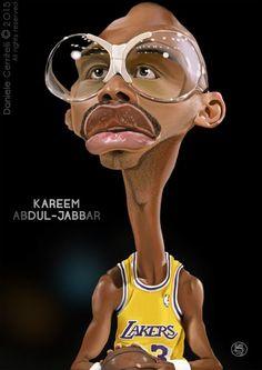 "CARICATURAS DE FAMOSOS: ""Kareem Abdul-Jabbar"" por Daniele Cerritelli"