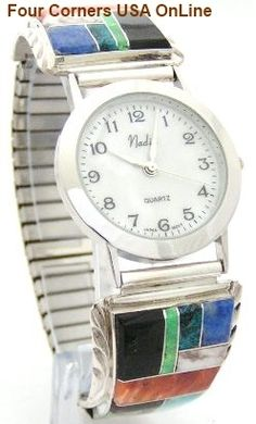 Four Corners USA Online - Man's Inlay Sterling Watch shown with Optional Watch Faces Native American Jewelry Artisan Arnold Yazzie, $157.00 (http://stores.fourcornersusaonline.com/mans-inlay-sterling-watch-shown-with-optional-watch-faces-native-american-jewelry-artisan-arnold-yazzie/)