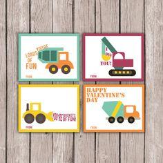 Construction Dump Truck Valentines Card- Boy's Valentine Cards- DIY PRINTABLE Valentines Card- Kids Valentine Cards