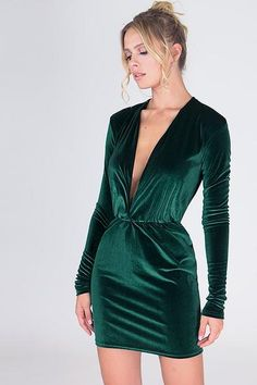 Sexy Deep V Velvet Mini Dress LOVE THIS DRESS!! EVEN MORE COLORS ONLINE