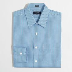 J.Crew Factory wrinkle-free Voyager dress shirt in mini-tattersall ($49) ❤ liked on Polyvore featuring men's fashion, men's clothing, men's shirts, men's dress shirts, j crew mens dress shirts, mens long sleeve shirts, mens short sleeve dress shirts, mens tattersall shirt and mens cotton shirts