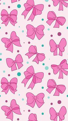 Bows and polka dots, girly pink and green print pattern bow wallpaper iphone, locked