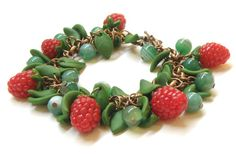 Raspberries Polymer Clay Bracelet with Natural Green by Eternity31, $26.50