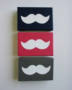 Except I'd do them all on white canvas and different mustache variations...then use in my bedroom as wall art after party.    mustaches on canvas @ PaintMeAPicture Etsy store, via Polka Dot Giraffe.