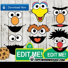 Printable Sesame Street Character faces will make your little ones giggle their heart out! Use for decoration, as photo props or simply as balloon stickers in your Elmo and friends birthday party. Baby 1st Birthday, Friend Birthday, First Birthday Parties, Birthday Party Themes, First Birthdays, Birthday Ideas, Eid Party, Sesame Street Characters, Molde