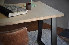 Office Desk Industrial Sustainable Birch Plywood Solid Top on British Steel Base-legs Custom Modern Furniture Hand Made in UK