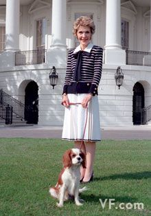 Nancy Reagan: Petite Amazon First Lady with Petite Amazon First Dog...can't crush the spirit of a strong woman, no matter how small!