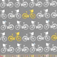 Nutex Whimsical Wheels Bike Rows Yellow Grey