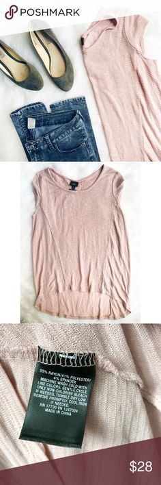 Blush Pink Sleeveless Knit Top Beautiful, super soft, blush pink sleeveless top (just the tiniest of cap sleeve). Slight hi-lo hemline and texture detail adds interest. Pair with jeans or leggings, or dress it up with a skirt!  ✅Bundle & Save 🚫Trades 🚫Off-Posh 🚫Modeling  💞Shop with ease; I'm a Posh Ambassador.💞 Mossimo Supply Co. Tops