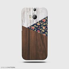 HTC One M8 Case Vintage Floral Geometric On Wood by EpisodePattern