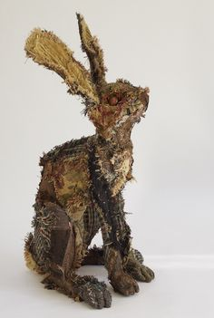 Butterfly Hare 50cm high made from vintage and recycled fabrics