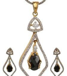 Buy PEACE Collection Black Studded Drop Shimmer Pendant Set For Women Pendant online