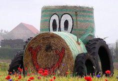 I so love this idea Straw Bales, Hay Bales, Thanksgiving Decorations, Halloween Decorations, Hay Bale Decorations, Straw Art, Pumpkin Farm, Farm Art, Old Bricks
