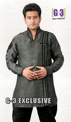 G3 fashions Olive GreenLinen Short Pathani Kurta  Product Code : G3-MSP1037 Price : INR RS 2338