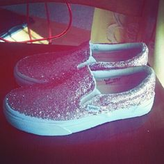 we took plain white lace less Vans, and decorated them with glitter sparkle fabric paint. Pink. and silver to match my Prom dress <3 now these are the shoes I'm wearing.  so cute! thanks mom <3