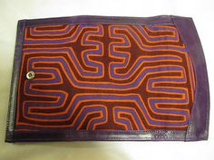 Handcrafted! One of a Kind!!! Mola and leather wallet!!!! from Colombia!