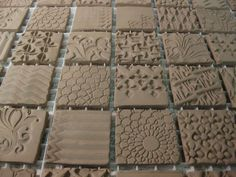 Clay tiles just for inspiration Pottery Tools, Pottery Classes, Slab Pottery, Ceramic Pottery, Pottery Ideas, Ceramic Texture, Clay Texture, Tiles Texture, Texture Painting