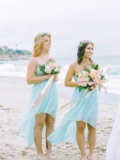aqua bridesmaids dresses // photo by Mariel Hannah // http://ruffledblog.com/intimate-destination-wedding