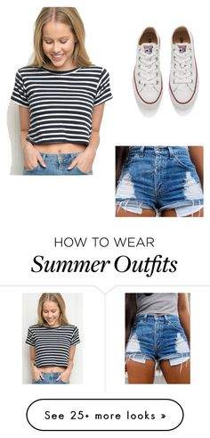 """Navy summer outfit"" by bigfatpanda0 on Polyvore featuring Converse, women's clothing, women, female, woman, misses and juniors"