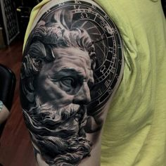 What does poseidon tattoo mean? We have poseidon tattoo ideas, designs, symbolism and we explain the meaning behind the tattoo. Zeus Tattoo, Poseidon Tattoo, Statue Tattoo, God Tattoos, Time Tattoos, Forearm Tattoos, Tatoos, New Tattoo Designs, Tattoo Sleeve Designs